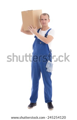 delivery concept - man in workwear holding cardboard box isolated on white background