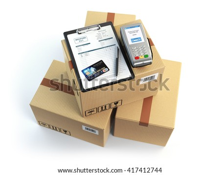Delivery concept. Parcel cardbox clipboard with receiving form and pos terminal and credit card isolated on white. 3d illustration