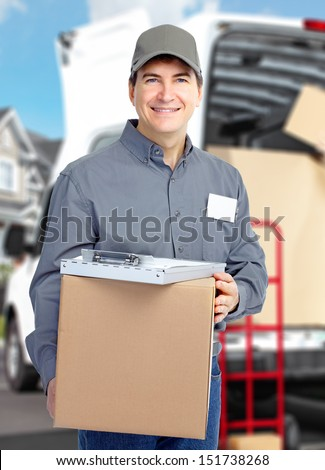 Delivery courier. Shipping and moving service background. - stock photo