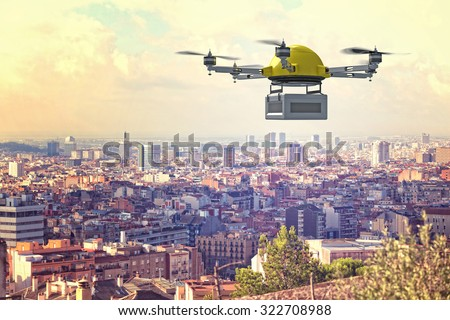 delivery 3d drone and town background - stock photo