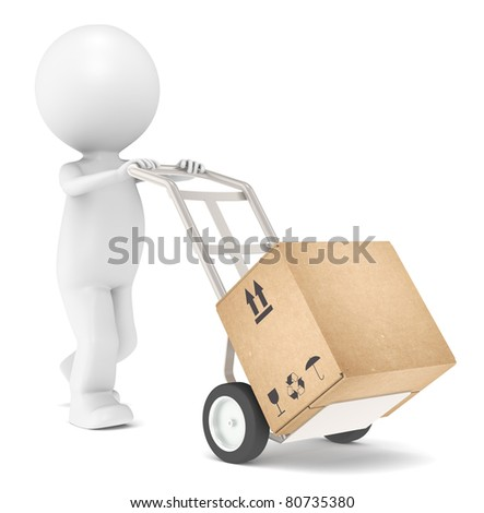 Delivery. 3D Little Human Character transporting a Box. - stock photo