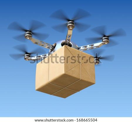 Delivery drone with post package - stock photo