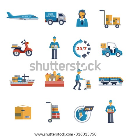 Delivery freight shipping logistic and transportation icons flat set isolated  illustration