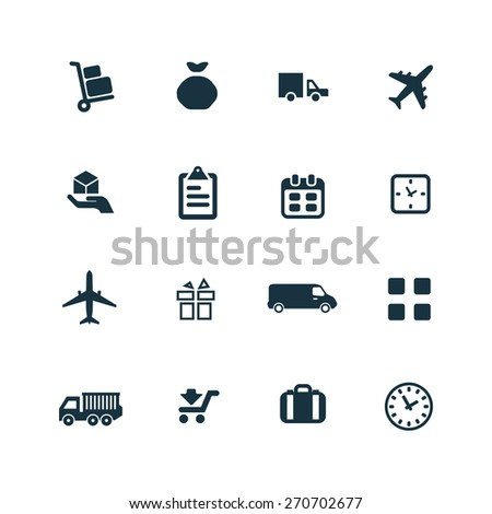 delivery icons set on white background