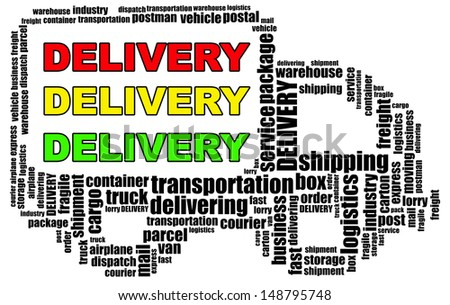 DELIVERY info text graphics and arrangement concept (word clouds) on white background - stock photo