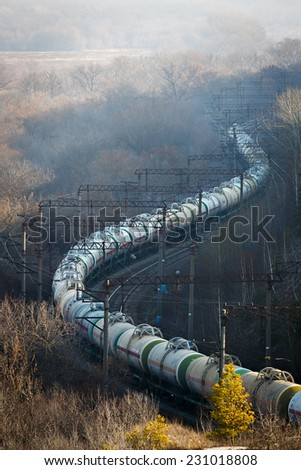Delivery liquefied natural gas railway transport in Russia. - stock photo