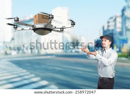 delivery man and 3d drone