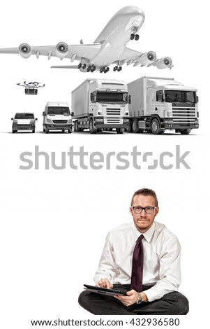 delivery man and 3d truck airplane van drone - stock photo