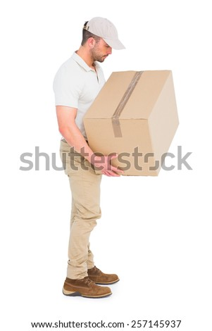 Delivery man carrying package on white background