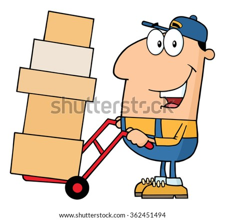 Delivery Man Cartoon Character Using A Dolly To Move Boxes. Raster Illustration Isolated On White - stock photo