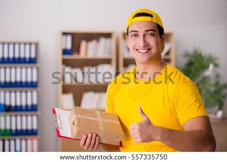 Delivery man delivering parcel box
