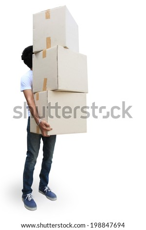 Delivery man holding a big parcel isolated on white  - stock photo