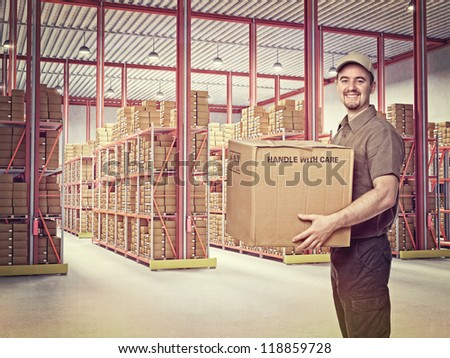 delivery man in  classic warehouse - stock photo