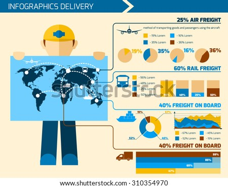 Delivery man infographics flat set with courier merchandise elements charts and world map  illustration - stock photo