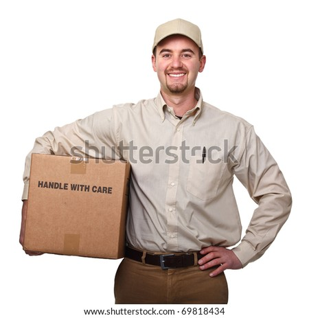 delivery man portrait on white background - stock photo