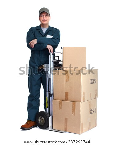 Delivery man with boxes. Express post shipping. - stock photo