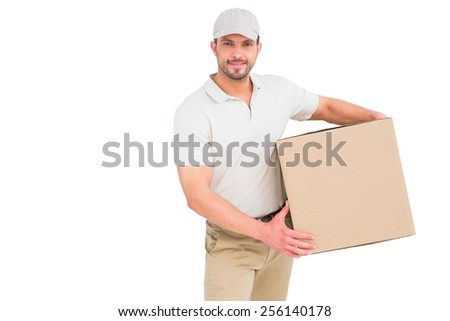 Delivery man with cardboard box on white background - stock photo