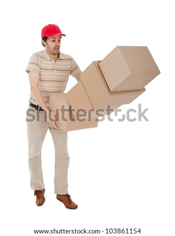 Delivery man with falling stack of boxes. Isolated on white - stock photo