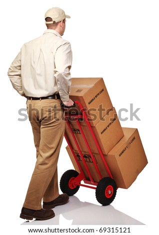 delivery man with parcel rear view isolated on white - stock photo
