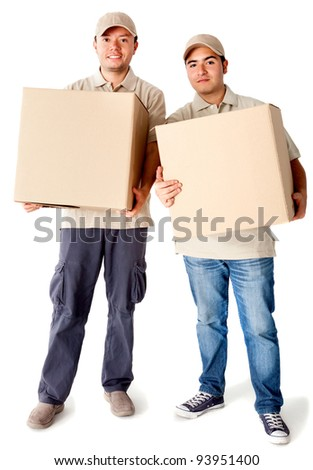 Delivery men carrying boxes - isolated over a white background - stock photo
