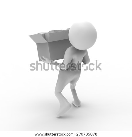 Delivery of goods, person ,3d