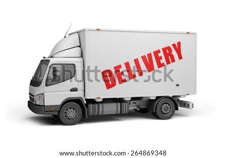Delivery of goods to the consumer. 3d image. White background. - stock photo