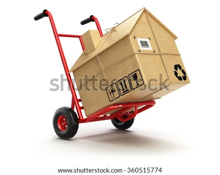 Delivery or moving houseconcept. Hand truck with cardboard box as home isolated on white. 3d - stock photo