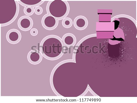 delivery service man and box background with space - stock photo