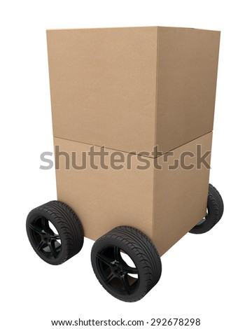 delivery service, two cardboard boxes of the recycled paper on wheels - stock photo