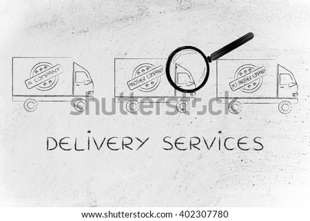 delivery services: trucks from different companies and magnifying glass analyzing them - stock photo
