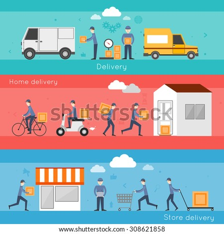 Delivery shipping banner set with food home store services isolated  illustration