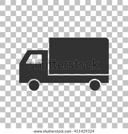 Delivery sign illustration. Dark gray icon on transparent background. - stock photo