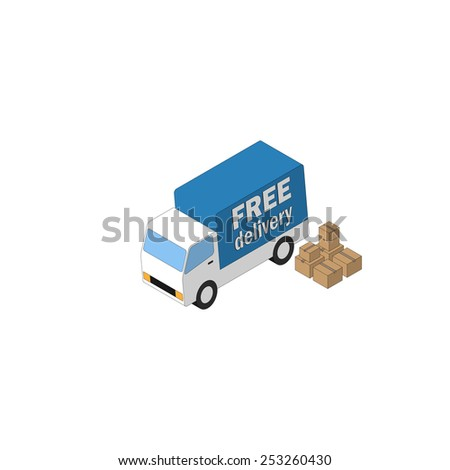Delivery truck and carton boxes. Isometric icon - stock photo