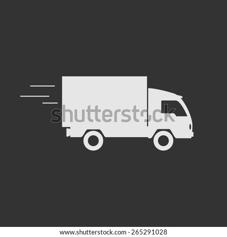 Delivery truck contour, flat icon. Editable  illustration. - stock photo