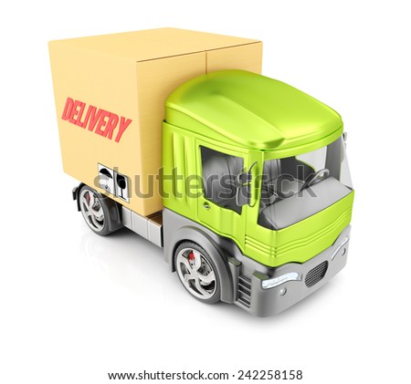 Delivery truck isolated on white background. 3d render