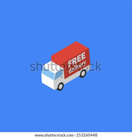 Delivery truck. Isometric icon - stock photo
