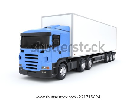 Delivery Truck on White Background - stock photo
