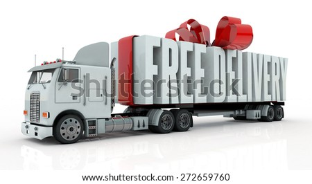 Delivery Truck with free delivery text on back - stock photo