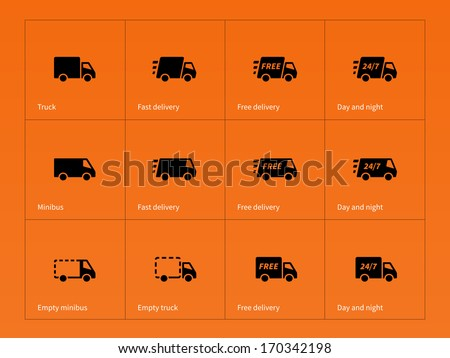 Delivery Trucks icons on orange background. See also vector version. - stock photo