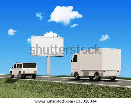 Delivery Van and SUV Car on the Asphalted Road with Blank Billboard - stock photo