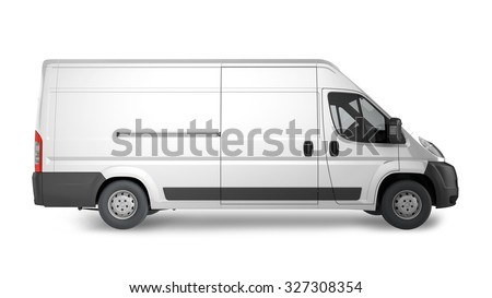 Delivery Van Mockup, layout for presentation. 3D render illustration.