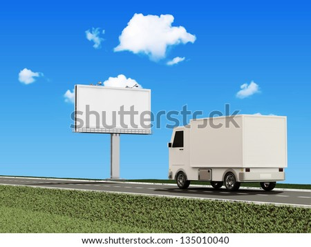 Delivery Van on the Asphalted Road with Blank Billboard - stock photo