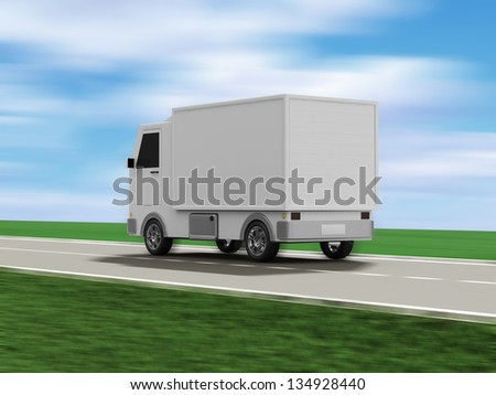 Delivery Van on the Asphalted Road with Motion Blur - stock photo