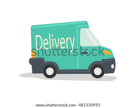 Delivery vehicle. Green delivery truck. Cartoon colorful raster illustration