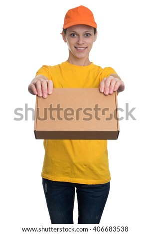 Delivery woman holding package isolated on white background - stock photo