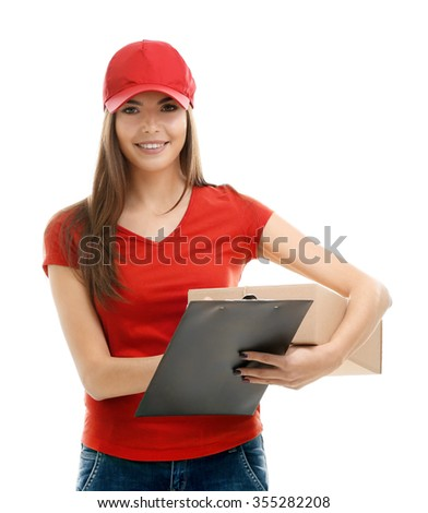 Delivery woman in red uniform holding package isolated on white background - stock photo