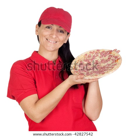 Delivery woman of pizza isolated on white background - stock photo