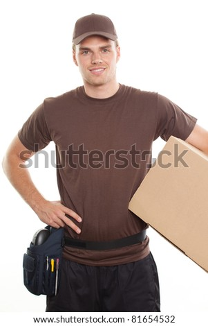 deliveryman with package on his left side - stock photo