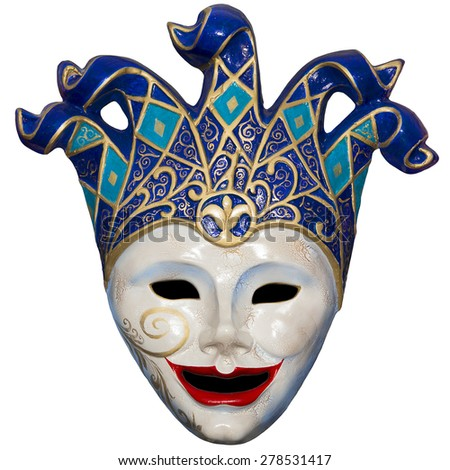 dell'arte theater mask isolated on white background
