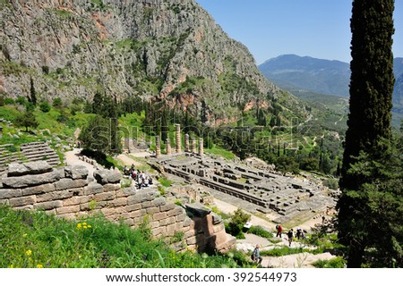 Delphi, Greece - April 17, 2009: Temple of Apollo at Delphi from above